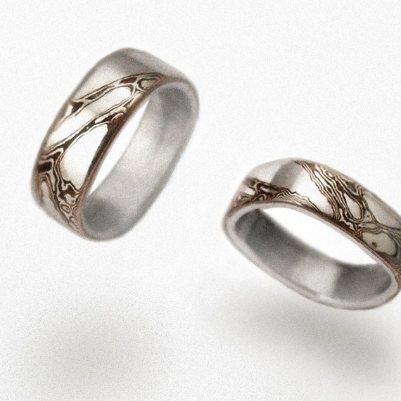 Mokume wedding rings - Geometric Waves