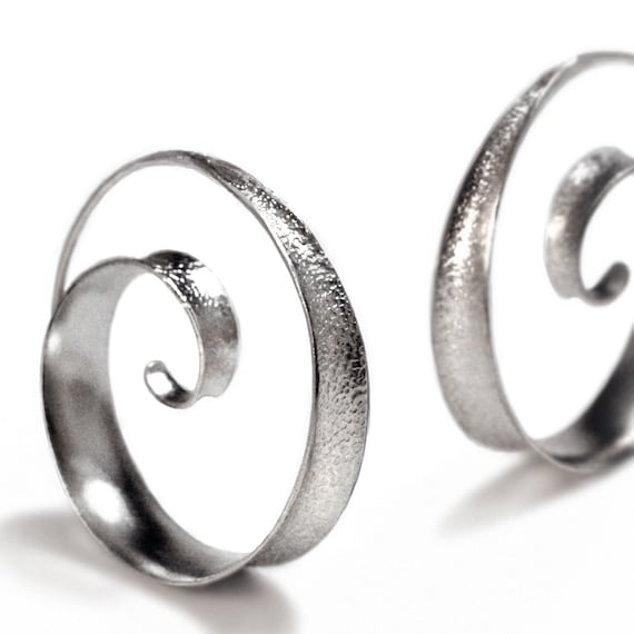 Anticlastic spiral hoop earrings - small