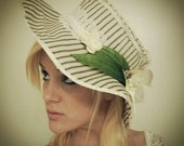 Victorian Influenced Striped Ivory Sunhat