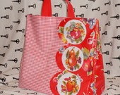 SALE Retro Red Oilcloth Grocery Bag