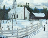 16x20 Print of acrylic landscape painting church snow by Kim Dow