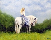 Untitled original portrait figure woman and horse oil painting by Kim Dow sale