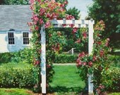 Rose Arbor  11x14inch Print of painting landscape roses garden realism by Kim Dow