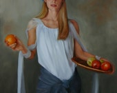 Print of narrative figurative female painting 'Eves Alternative' 12x9 inch by Kim Dow