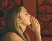 Print of 'Pensive' narrative figurative woman praying 12x18 print of oil painting by Kim Dow