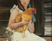 18x24 inch print of 'Pecking Order' narrative figurative portrait girl chicken by Kim Dow