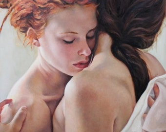 Soft On Soft original oil portrait figurative classical figure nude painting by Kimberly Dow