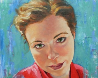 Pink Robe 12x12 inch original oil portrait figure female painting by Kim Dow