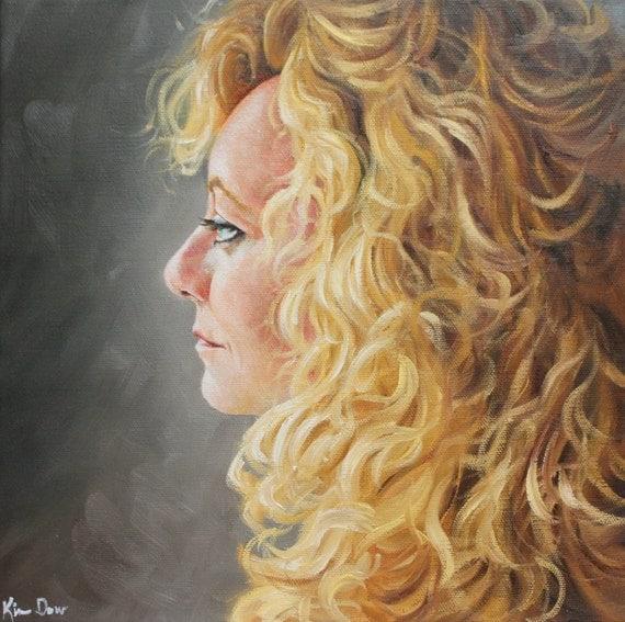 Self Portrait 2010 original oil portrait female painting by Kim Dow