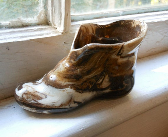Vintage Pottery Brown & White Swirl Shoe
