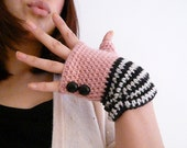 Baby Pink and Stripe Fingerless Mittens with Black Leather Vintage Buttons