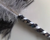 Satin Wrapped Sequinned and Beaded Ostrich Feather Ballpoint Pen - Black and White
