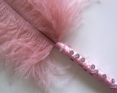 Satin Wrapped Sequinned and Beaded Ostrich Feather Ballpoint Pen - Pretty Pink