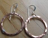 Recycled copper hoop loop earrings Large copper loops