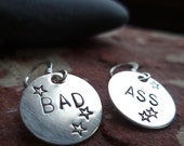 MATURE sterling silver handstamped disc earrings tough sassy sister best friend gift