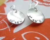 HOME SWEET HOME longitude latitude gps map globe recycled sterling silver earrings