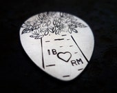 custom personalized carved lover's tree initials hand stamped sterling silver guitar pick plectrum music musical gift