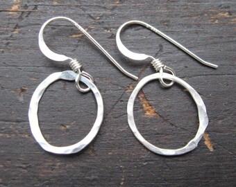 Teeny tiny itty bitty sterling silver loops hoop earrings