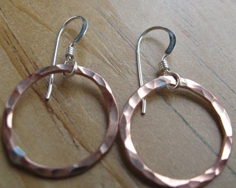 Recycled copper hoop loop earrings Large copper loops