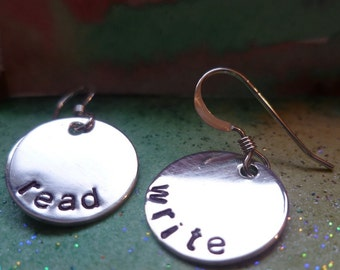 Sterling stamped earrings personalized mom sister read write teacher librarian bookworm reader