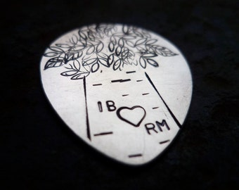 custom personalized  hand stamped guitar pick plectrum music musical gift with sterling heart