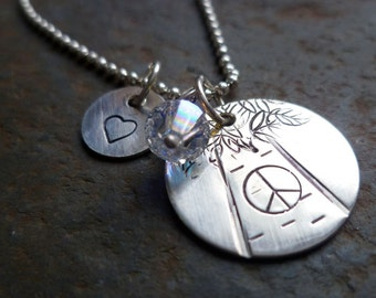 Sterling silver personalized necklace custom tree pendant heart tree lover peace charm