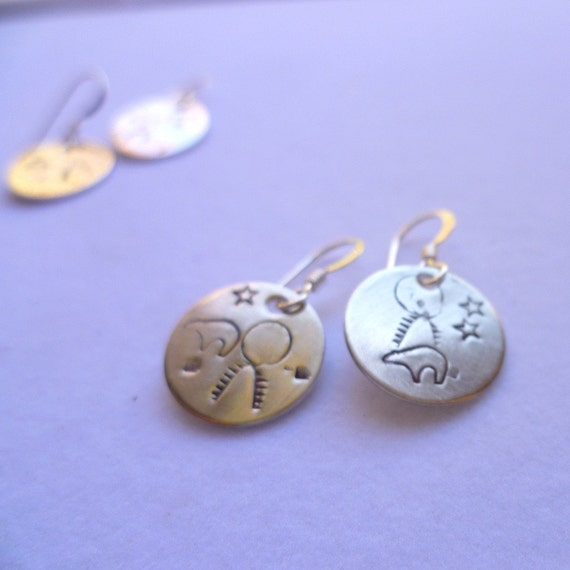 custom personalized hand stamped sterling silver migration bear petroglyph earrings