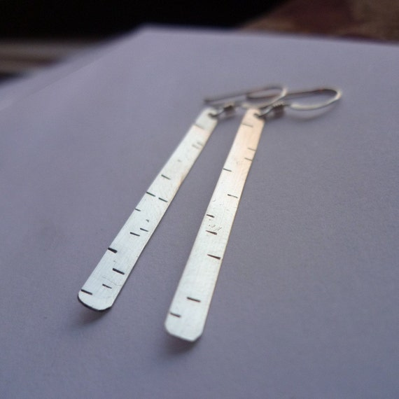 sterling silver BIRCH tree nature earrings recycled metal stamped