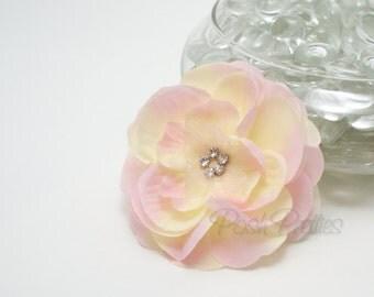 Pink Flower Hair Clip - Pink Lemonade - Silk and Organza Layered Flower with Rhinestone Center