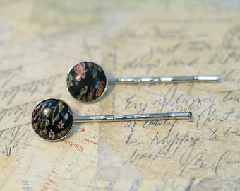 Millefiore Glass Bobby Pin - Set of two - Black
