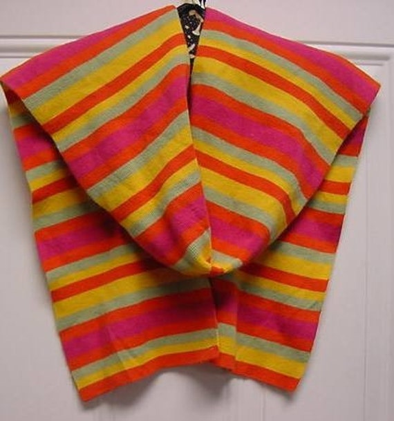 Pretty Long Colorful Knit Scarf with Horizontal stripes   Sale