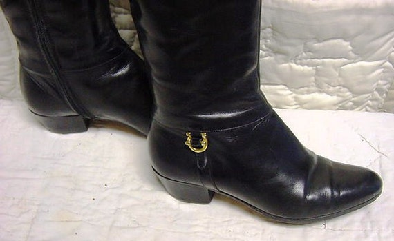 Salvatore Ferragamo Knee High Black Leather Boots Size 4B
