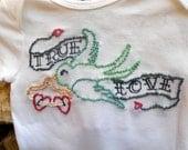 Hand Embroidered Baby Tattoo Onesie Bodysuit Keepsake - Rockabilly Flying Swallow Sparrow - True Love Bird