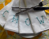 """Hand Embroidered Monogrammed Cloth Napkins - Sailor Jerry Tattoo """"Chow"""" for Hipster Homes - Set of 4 Serviettes"""