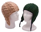 Adult Cable Ear Flap Hat - Two Yarn Weight Options - Knitting Pattern PDF