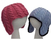 Baby Cable Ear Flap Hats - Knitting Pattern PDF