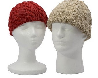 Cable Hat and Mitten Set - Knitting Pattern PDFs