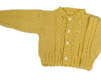 Easy Cable Baby Cardigan - Knitting Pattern PDF