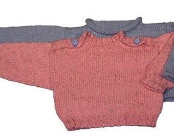 Easy Baby Pullover Sweater - Two Styles - No-seams Version - Knitting Pattern PDF