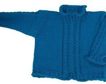 Easy Basic Simple Child's Cable Pullover - Knitting Pattern PDF