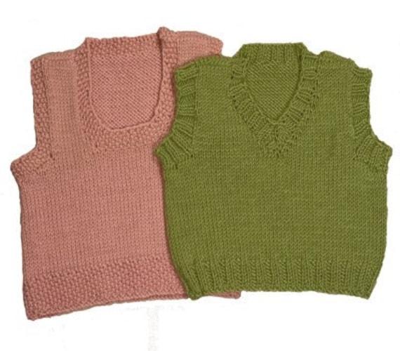 Easy Baby Vests Knitting Pattern 2 Styles V-Neck and
