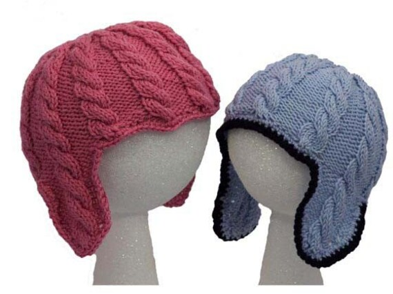 Baby Cable Ear Flap Hats Knitting Pattern PDF