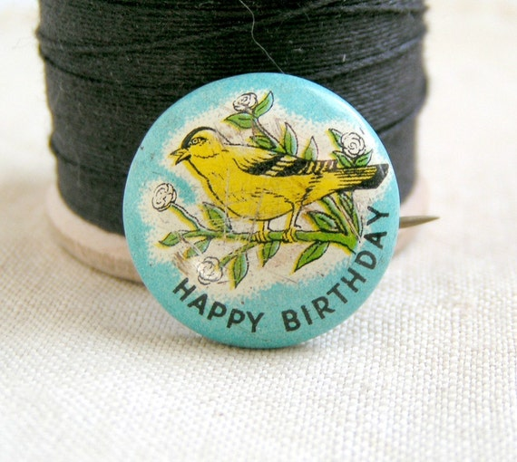 1950's Happy Birthday Pin. Dainty Yellow Bird
