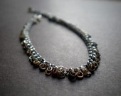 Boho Bracelet / Mixed Metal Beads Links / Organic / Rustic / Cowgirl Jewelry / Birthday Gift Girlfriend / Slinky / Textured / Women Fashion