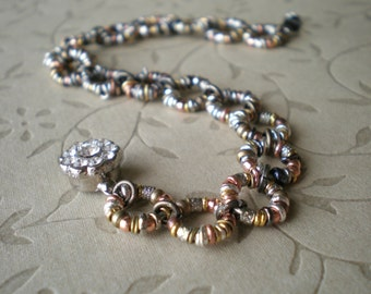 Rustic Bracelet - Textured Boho Bracelet - Elegant Jewelry - Flower Box Clasp - Random Mixed Metal Beads - Bohemian Jewelry - Gift Woman
