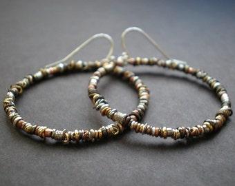 Large Hoop Earrings - Organic Textured Hoops - Rustic Earrings - Mixed Metal Beads - Big Boho Earrings - dorijenn Signature Ring O' Links