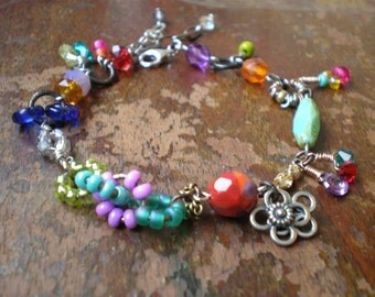 Colorful Bracelet - Multi Color Eclectic Bracelet - Birthday Gift Wife - Mixed Metal - Chunky Bracelet - Statement Jewelry - Gift Sister Mom