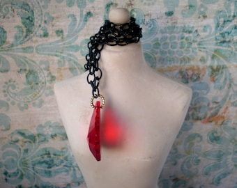 Vampire Blood-Red Tear Drop Necklace -Dracula Cosplay - Black Chain - Bloody Neck - Teen Necklace- Steampunk/Goth Jewelry-Pendant Halloween