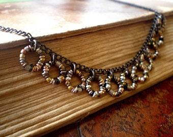 Organic Ring O' Links Fringe Necklace 4