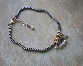Mixed Feelings Bracelet 2 - Listing is for One (1) Bracelet - Freshwater Pearl - Mixed Metal Colors - Matching Earrings